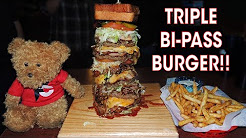Triple Bi-Pass Burger Challenge w/ Eggs & Grilled Cheese!!