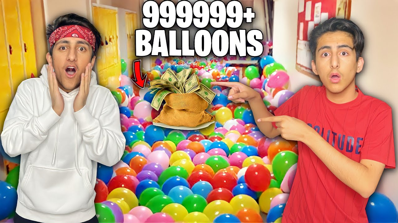 I Filled My Brother Room With 999+ Balloons🎈Find Mystery Box Key In Balloons 😍 - Garena Free Fire