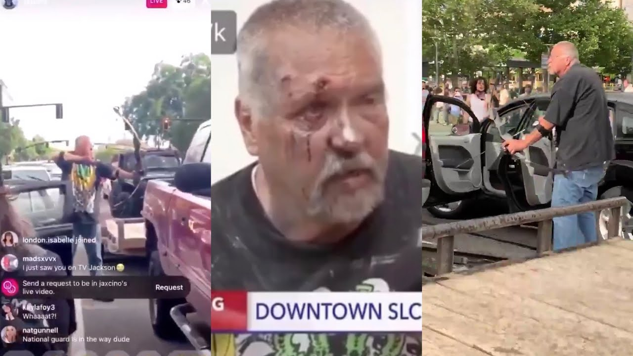 "Full Video: ""All live matters"" Protesters take on man aiming bow and arrow at them in Salt Lake City"