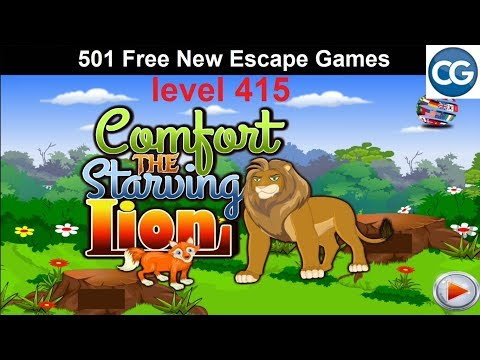 [Walkthrough] 501 Free New Escape Games level 415 - Comfort the starving lion - Complete Game