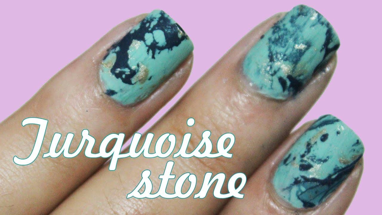 easy turquoise stone nails