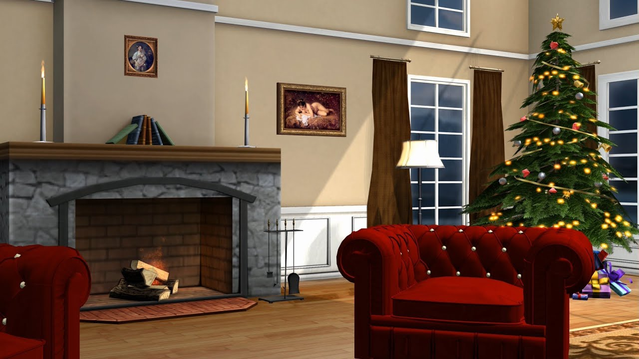 Christmas Room Living Room Royalty Free Green Screen