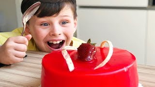 Ali and little sister took Dad birthday cake, funny video for kids