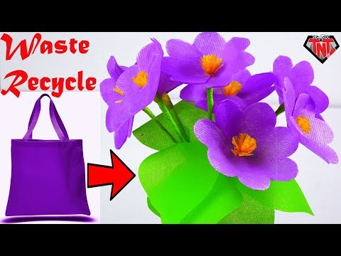 Handmade Beautiful Violet flowers With Fabric Bags | How To Make Flower Bouquet Using Shopping Bags