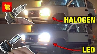 LED vs HALOGEN HEADLIGHTS!! [Before and After]