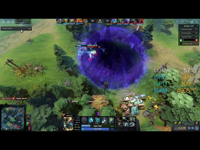 GeForce GT 1030 -- Intel Pentium Gold G5400 -- Dota 2 FPS Test [DX11]