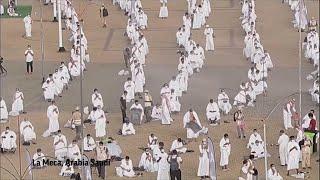 Los peregrinos oran en un haj marcado por el coronavirus.