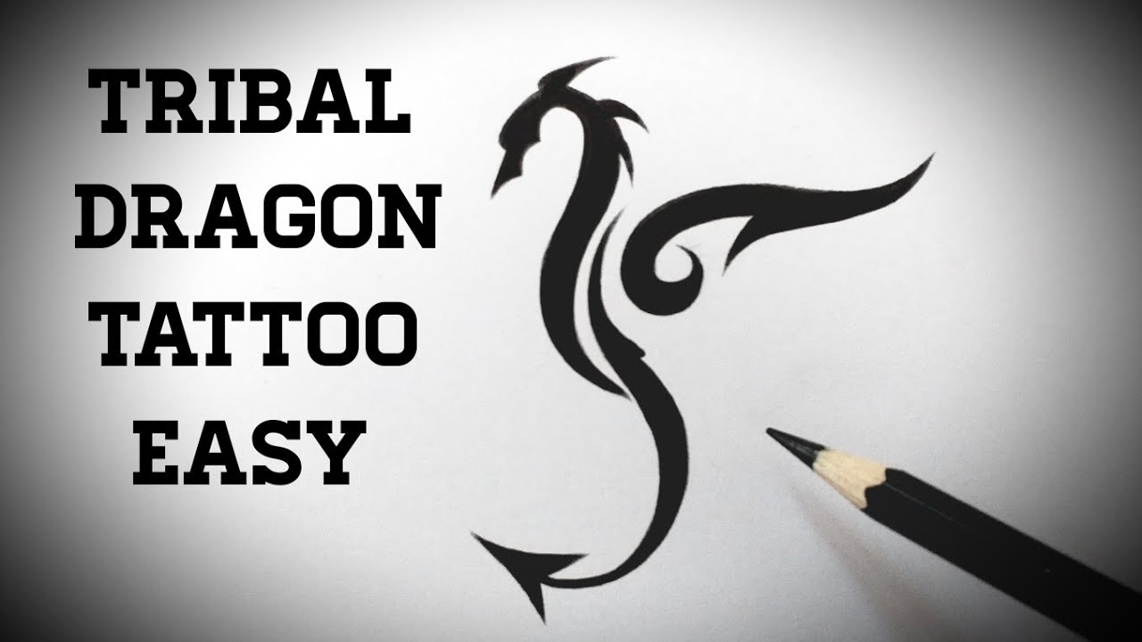 How to draw a tribal dragon tattoo easy step by step Drawing ...