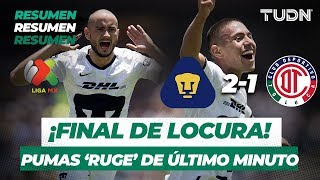 Resumen y Goles Pumas 2 - 1 Toluca | Liga MX - Apertura 2019 -  Jornada 8 | TUDN