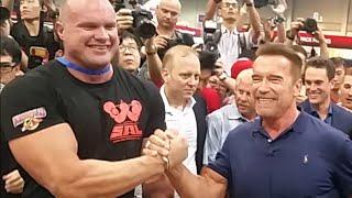 Lars Rørbakken and Arnold Schwarzenegger Supermach Armwrestling