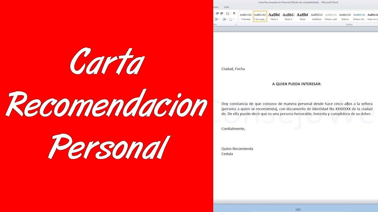 ejemplos de cartas de recomendacion personales ya hechas