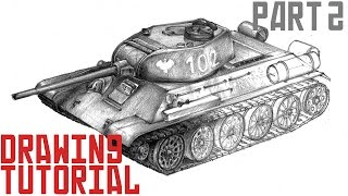 How to draw tank T-34 - drawing tutorial (part 2)