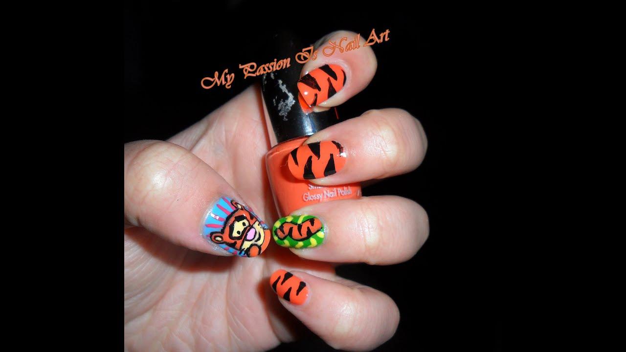Nail Art On Youtube: Simple Little Tigger Nail Art Tutorial- Nail Art Piccolo