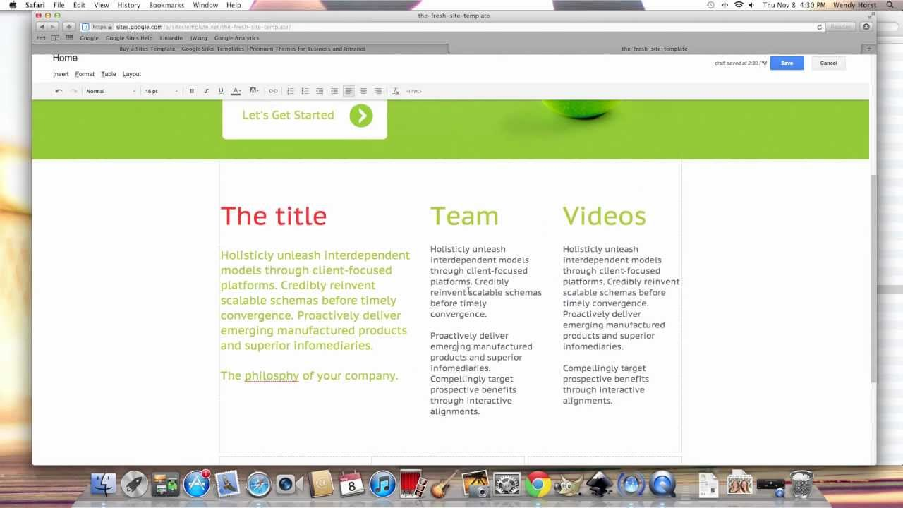 New Google Sites Template - The Fresh Site - YouTube
