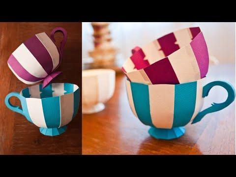 Paper Teacup Tutorial | Paper Crafts DIY | 3D Paper Teacup Tutorial