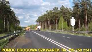 Holowanie TIR Ciężarowe Lubuskie Świecko A2 - Wypadek Ciągnika siodłowego z naczepą do drewna