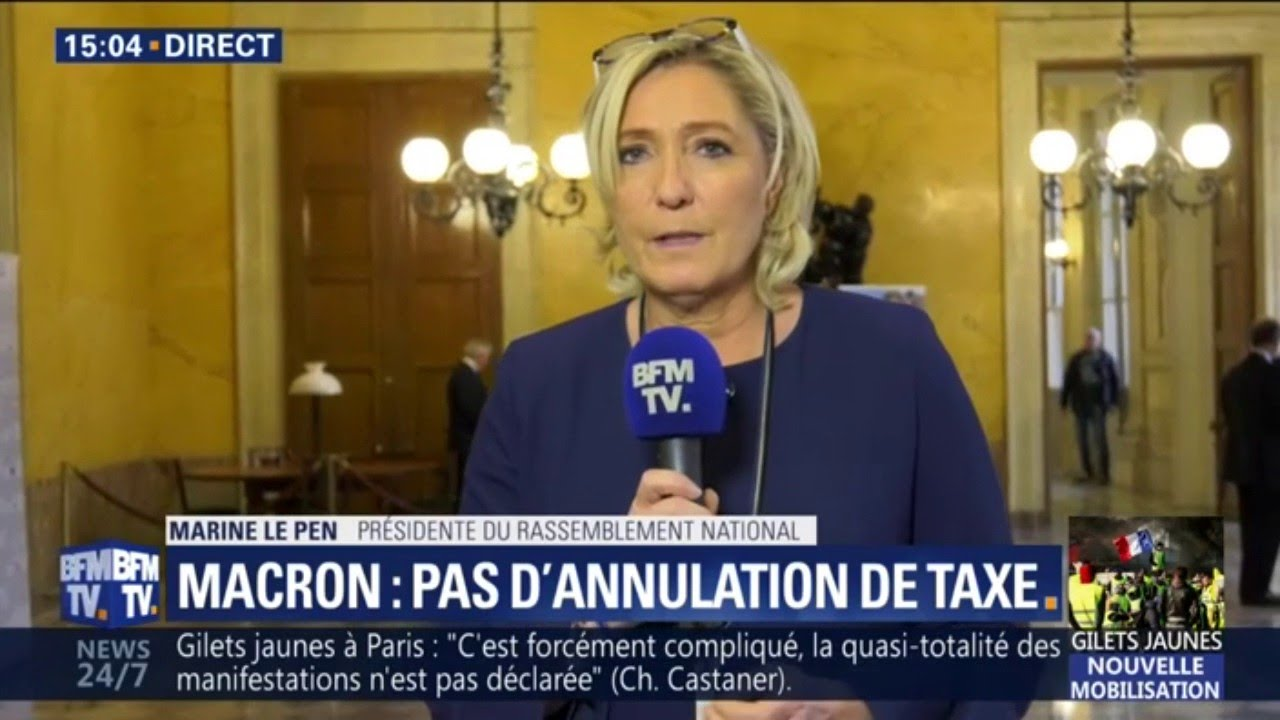 """Gilets Jaunes: Marine Le Pen a le sentiment que """"le président n'a toujours rien compris&qu"""