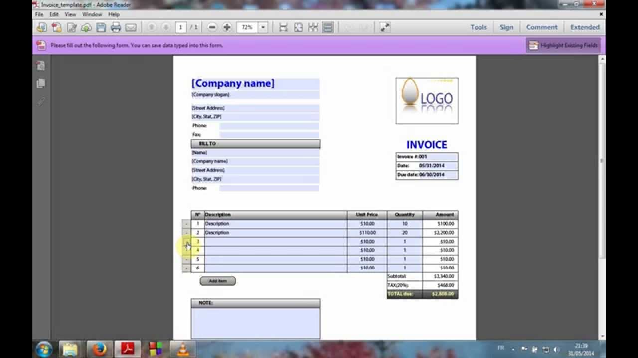 pdf fillable form invoice youtube