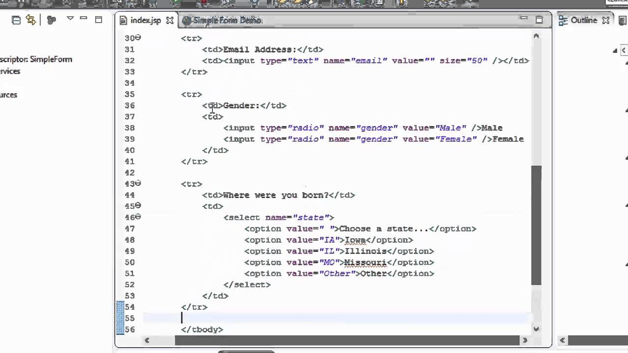 A simple jsp page example (the java ee 5 tutorial).