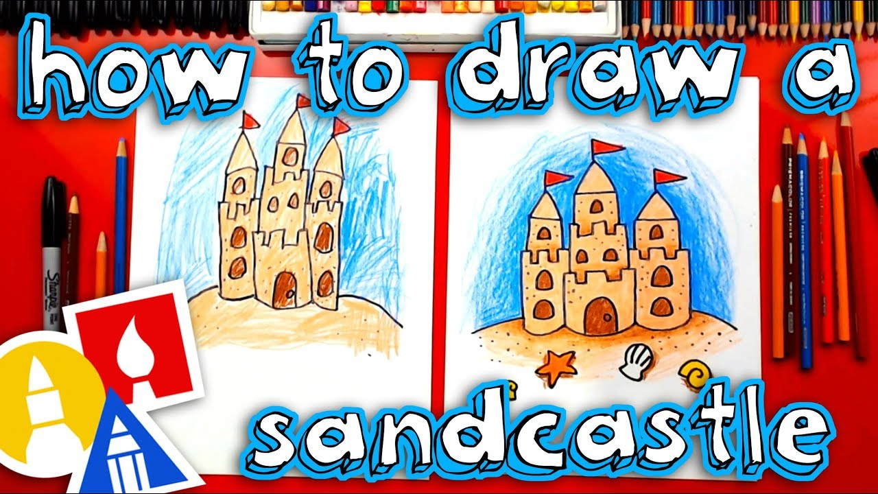 How To Draw A Sandcastle - YouTube