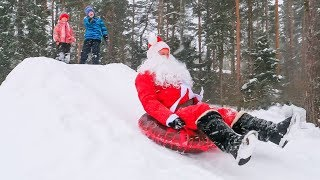 Vlad and Oleg Play with Santa Claus Sleeping in Car