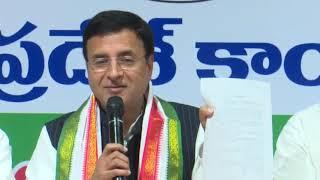 Randeep Singh Surjewala addresses media in Hyderabad, Telangana