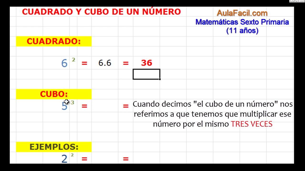 f956a61f7 El cuadrado Los Números enteros Matemáticas Sexto Primaria (11  años) AulaFacil.com