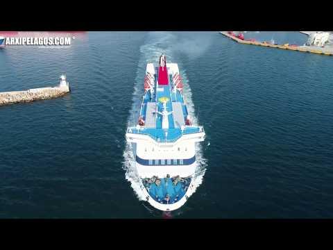 NISSOS CHIOS - Ro-Ro/Passenger Ship departure from Piraeus Port ( AERIAL DRONE VIDEO )