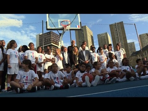 1571dcdb068f NBA greats inaugurate new basketball court in Paris - YouTube