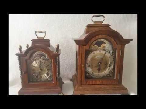 Dutch Warmink Westminster Quarter Chime Oak Bracket/Mantel Clock Moonphase