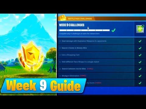 Fortnite Week 9 Challenges Guide! - Treasure Map (Season 4 Battle Royale)