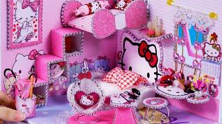 DIY Miniature Dollhouse ~ Hello Kitty Room Decor ~ 10 Minute DIY Doll Crafts #56