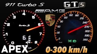 2018 Porsche 911 Turbo S vs. Mercedes AMG GT S - Acceleration Sound 0-100, 0-300 km/h | APEX