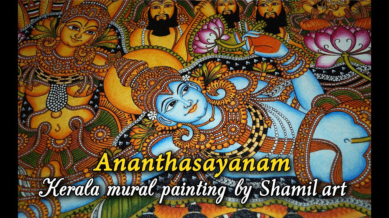 Ananthasayanam kerala mural painting steps by for A mural is painted on a
