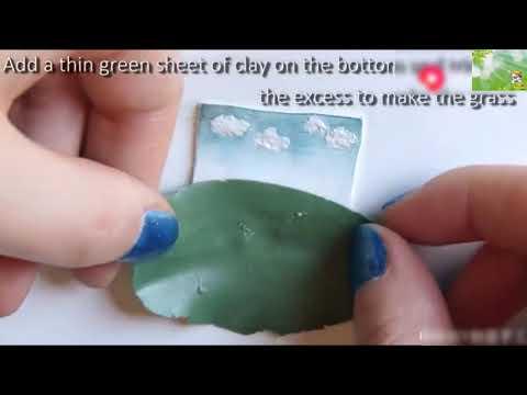 Clay soft pottery handmade DIY creative handmade antique wooden photo frame necklace tutorial