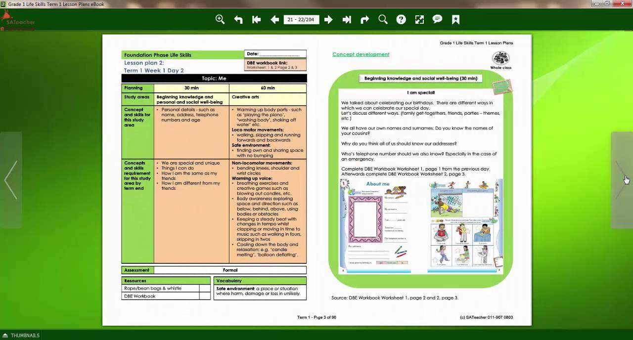 Grade 1 Life Skills eBook Lesson Plans YouTube – Life Skills Lesson Plans