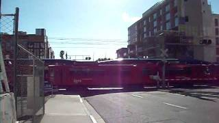 San Diego Trolley & NCTD Coaster trains downtown San Diego