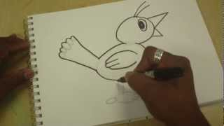 Drawing With Simple Shapes: Cartoon Bird
