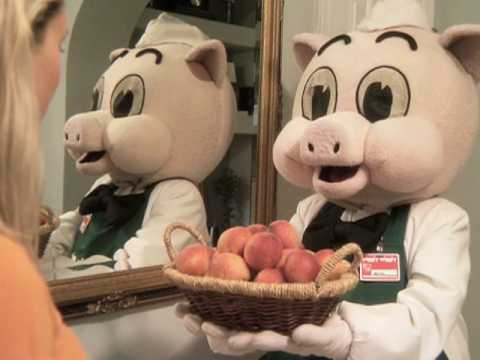 Piggly Wiggly TV Commercial - Price and Item for milk and peaches featuring Mr. Pig.