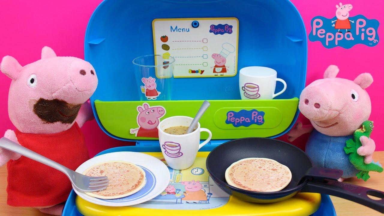 Mini Cocina de PEPPA PIG en espaol  Cocinita de juguete  Peppa Pig y George comen pancakes  YouTube