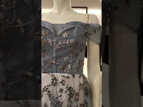 Off Shoulder Floral Long Evening Gown