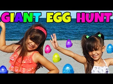 GIANT SURPRISE EGG HUNT AT THE BEACH - Opening Toy Surprises - Shopkins, Num Noms, AJ, Squinkies