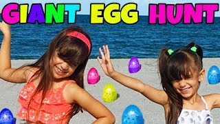 giant surprise egg hunt at the beach opening toy surprises shopkins num noms aj squinkies