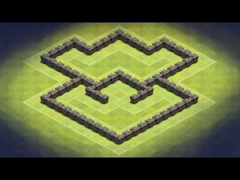 Clash of Clans - TH4 Hybrid Base (Logomodded) epic glitches!! hidden buildings