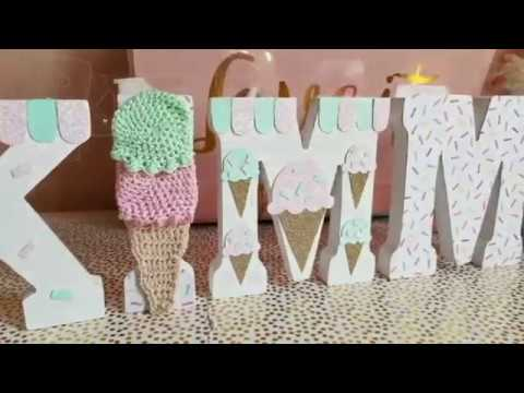 DIY | How To Decorate Wooden Letters | Ice Cream Birthday Party Decor