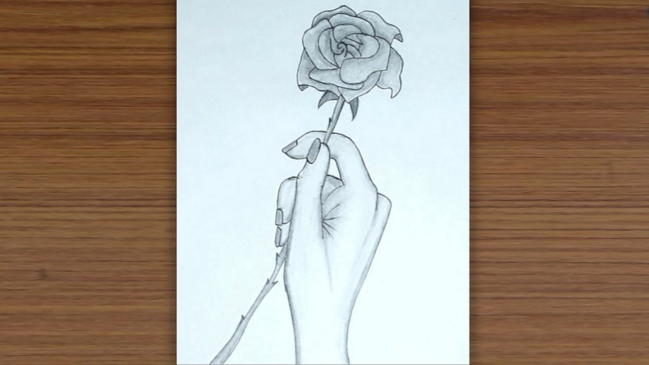 Hand Holding Flower Sketch
