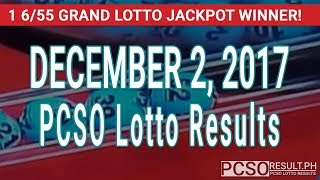 PCSO Lotto Results Today December 2, 2017 (6/55, 6/42, 6D, Swertres & EZ2)