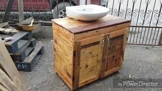 lavamanos realizado con palets tarimas sink made with pallet wood HD
