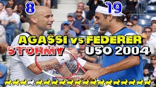 Federer and Agassi play through HURRICANE! ● QF US Open 2004 Highlights