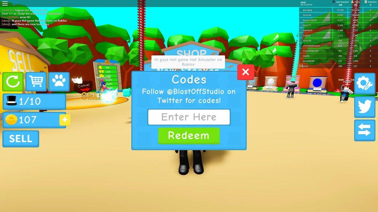 Roblox Codes Hat Simulator Youtube